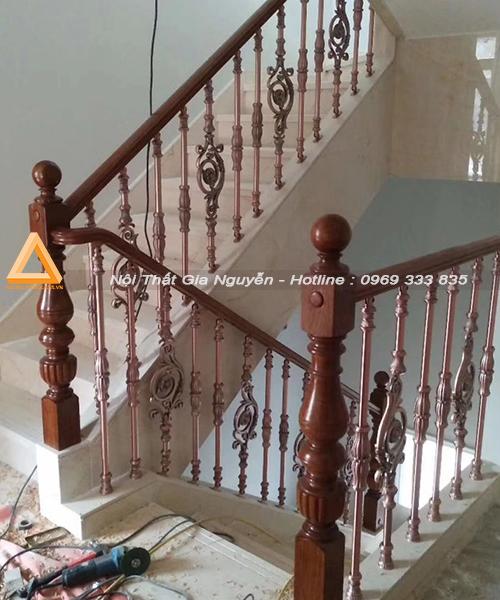 Cầu thang nhôm đúc hiện đại