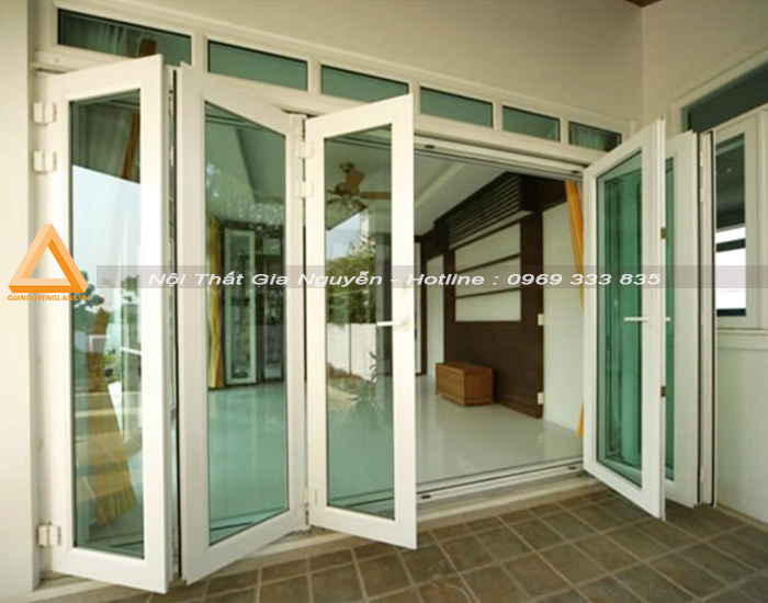 Mẫu cửa nhôm xingfa xếp gấp 6 cánh màu trắng