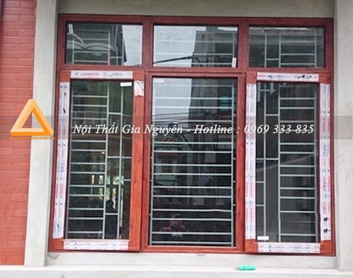Cửa sổ mở trượt nhôm Xingfa cao cấp màu vân gỗ