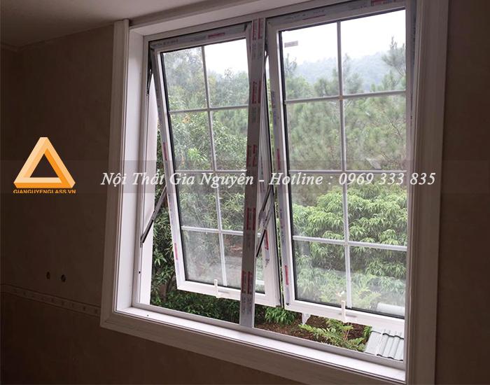 Cửa sổ mở hất nhôm Xingfa cao cấp màu trắng sứ