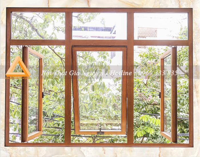 Cửa sổ mở hất nhôm Xingfa cao cấp màu vân gỗ