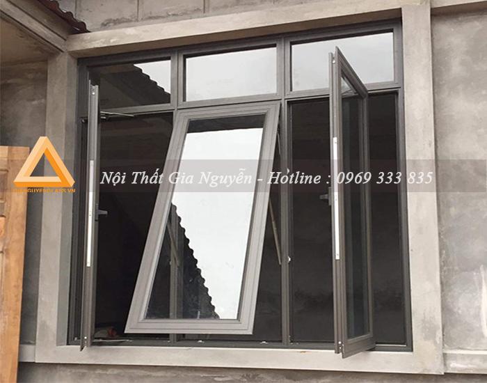 Cửa sổ mở hất nhôm Xingfa cao cấp màu ghi xám